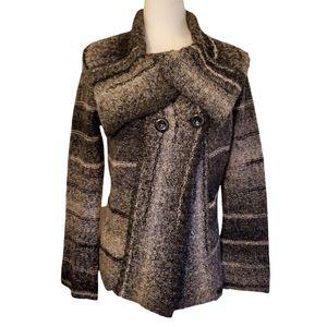 MARISA CHRISTINA Wool Blend Chunky Sweater Coat w/ Wide Colar Women's Medium